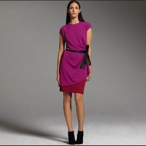NARCISO RODRIGUEZ Pink & Red Cap Sleeve Dress XL